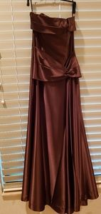 Formal brown satin gown